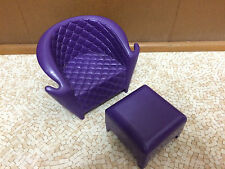 2004 Barbie Doll Bratz e-cafe Quilt Look Chair Stool Ottoman Living Room House