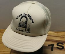"""CIRCLE THE WAGONS"" ELKWATER ALBERTA CANADA TRUCKERS HAT SNAPBACK BEIGE VGC"