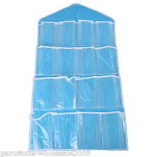 Blue 16-Pocket Wall Hanging Jewerly Organizer Storage Bag  Multi layer bag