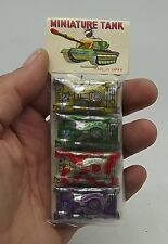 Vintage Pack 4 Tin Mini MINIATURE Tanks TANK Old Stock Original Package Toys