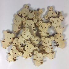 Ratón 2000pc en forma de botones de madera natural cuentas de cierre de Coser Cardmaking Craft