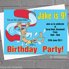 Boys Girls Inflatables Slide Pool Swimming Birthday Party Invitations x12 H0967