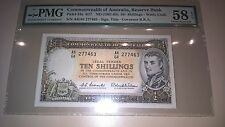 COMMONWEALTH  OF AUSTRALIA TEN SHILLINGS PMG58 UNC GRADED NOTE RARE GRADE