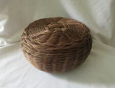 Hand-made Woven Dark Brown Plastic Wire Basket w/ Lid