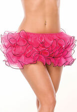 Sexy Coquette Fuchsia Organza Mini Stretch Cha Cha Skirt w Wired Hem