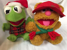 1987 Fozzie Bear and Kermit the Frog Christmas Plush Toys Vintage Collectible
