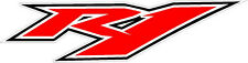 #637 (1) Yamaha R1 Custom Red Black Outline Headlight Decal Sticker