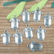 Alloy metal Tibetan Silver color BABY clothes design charms 20pcs EF0144