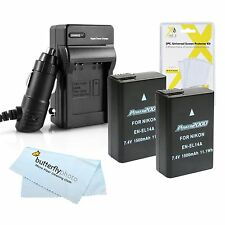 2 Pack Battery and Charger Kit For Nikon D5500 D5300 D3300 D5200 D5100 D3100