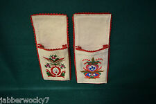 2 Vintage Hungarian Matyo Felt Embroidered Floral Folk Art Pockets with Velcro