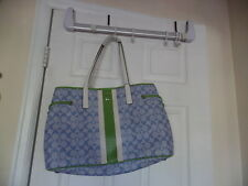 COACH BEAUTIFUL  LARGE HANDBAG/TOTE LIGHT BLUE WITH GREEN AND WHITE TRIM F23049