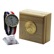 PERSONALISED STRIPED Wristwatch Luxury Watch Free Engraving Unisex Wooden Case