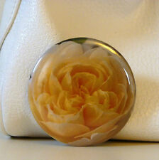 FLOWER POCKET MIRROR WITH ORGANZA BAG GIFT YELLOW ROSE - GIFT MAKE UP