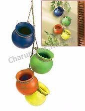 Fiesta Hanging Pots 4 lot mexican Outdoor / Indoor Plant Flower Pot Terra Cotta