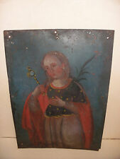 Antique 18thc 1700`s Spanish Colonial Folk Art Tin Icon Oil Painting