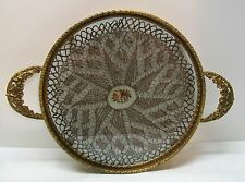 Round Footed Vanity Dresser Tray Lace Doily Insert Glass Floral Handles Vintage