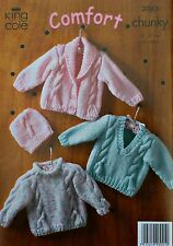 KNITTING PATTERN Baby Long Sleeve Cable Jumpers, Jacket & Hat Chunky KC 3043