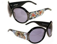 Ed Hardy Sunglasses Womens Swarovski Crystal Ehs002 Koi FIsh Black Frame Grey