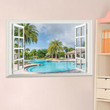Swimming Pool Resort Window View Scenery 3D Wall Stickers Vinyl Art Home Mural