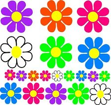 CAR set 20 Stickers LARGE daisy BRIGHT colors Flowers 60s Retro Tropical USA new