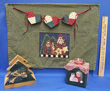 Primitive Country Christmas Decor Napkin Candle Holdr Wooden Swag Primitive Lot4