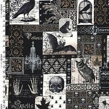 Fat Quarter Nevermore Collage Gothic Halloween Design Cotton Quilting Fabric