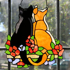 """12.5""""H Stained Glass Cats in the Garden Window Panel River of Goods"""