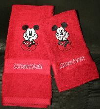 "Mickey Mouse""NEW Black & White DESIGN"" 1 Red Hand/Kitchen towel&1 Red WashCloth"
