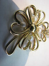 Vintage HEART 4 Four Leaf CLOVER Cultured PEARL PENDANT Charm