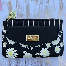 Betsey Johnson bag Pouch Packet clutch Daisy top zip flap floral black white