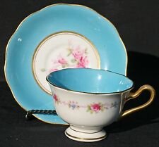ROYAL ALBERT CROWN CHINA CUP SAUCER TURQUOISE BLUE GOLD ROSE FLORAL BORDER VTG