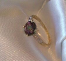 9K/375 SOLID YELLOW GOLD GENUINE OVAL MYSTIC TOPAZ & DIAMOND RING