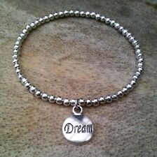 Simple Silver Ball Beaded DREAM Coin Disc Inspirational Stretch Bracelet