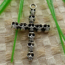 free ship 30 pieces tibetan silver skull cross pendant 41x26mm #4201