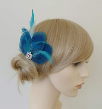 Lizbeth Turquoise Blue PEACOCK Feather Fascinator HAIR CLIP Something Blue Bride