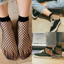 Women Lady Soft Black Lace Ruffle Fishnet Mesh Short Ankle Socks Stockings New