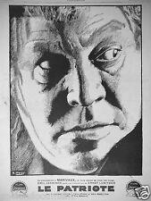 PUBLICITÉ 1929 LE PATRIOTE A MARIVAUX LE PLUS GRAND FILM PARAMOUNT LEWIS STONE