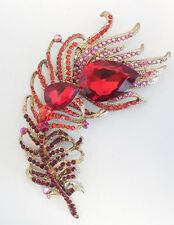 NEW KIRKS FOLLY ELEGANT  PEACOCK FEATHER PIN    BIG & BOLD  GOLDTONE RED