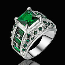 Vintage Green Emerald Wedding Engagement Ring White Gold Filled Jewelry Size 7