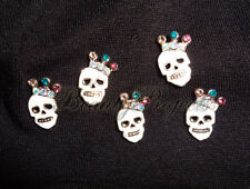 (5pcs) 3D white skull diamond head halloween nail art charms acrylic gel #H3