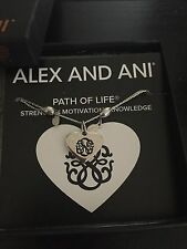 "NWT ALEX AND ANI ""PATH OF LIFE HEART"" NECKLACE IN SHINY SILVER CARD RARE/RETIRED"