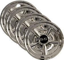 "Golf Cart 8"" SS Hub Caps Wheel Cover (4) - Universal: EZGO, Club Car, Yamaha,"