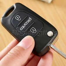 Car Folding 3 Buttons Flip Remote Key Fob Shell Case Replacement for KIA Picanto