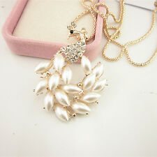 Charm Woman Full Pearl Crystal Peacock Pendant Chain Party Sweater Necklace