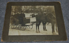 ANTIQUE CABINET PHOTO OF 4 GROWN MEN IN ACTUAL HORSE DRAWN SLED SLEIGH BELLS