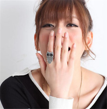 Fashion Silver Plated Owl Lovely Cat Animal Crystal Adjustable Ring Jewelry HOT
