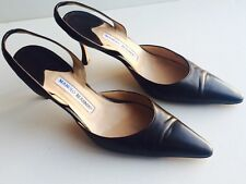 Manolo Blahnik Black Carolyn Leather Slingbacks 40 Shoes 9.5 9 Heels