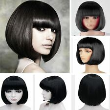 Fashion BOB Wig Women Full Straight  Bangs Cosplay Party Lady Short Hair BLACK