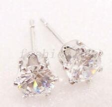 fashion1uk 5mm White Gold Plated Simulated Diamond Men Boy Classic Stud Earrings