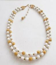VINTAGE 1950'S CROWN TRIFARI WHITE GLASS BEADS GOLD TONE TIERED NECKLACE